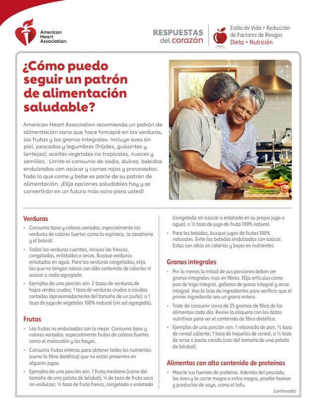 How to follow healthy diet Spanish Answers by Heart sheet