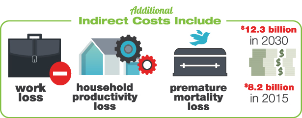 Additional Indirect Costs Include work loss, household productivity loss, premature mortality loss - Infographic