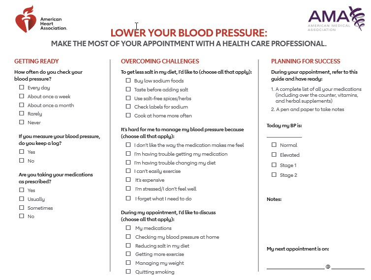 HBP questions to ask your doctor sheet