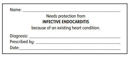 Infective endocarditis wallet card