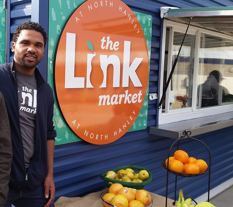 Jeremy Goss was inspired to start Link Market as a medical student. Many of his patients were in poor health due to the lack of accessible and affordable foods. (Photo by Serena Bugett-Teague)